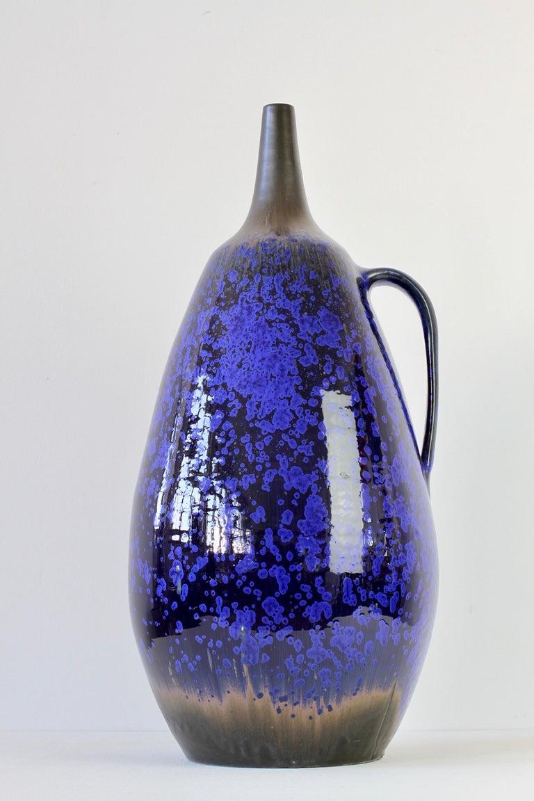 1970s Monumental Blue Glazed West German Pottery Floor Vase by Wendelin Stahl For Sale 1