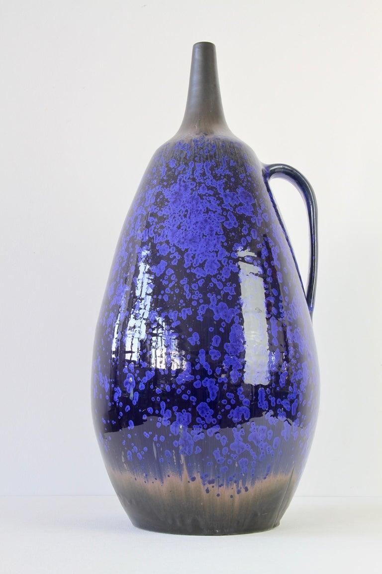 1970s Monumental Blue Glazed West German Pottery Floor Vase by Wendelin Stahl For Sale 2