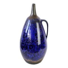 1970s Monumental Blue Glazed West German Pottery Floor Vase by Wendelin Stahl
