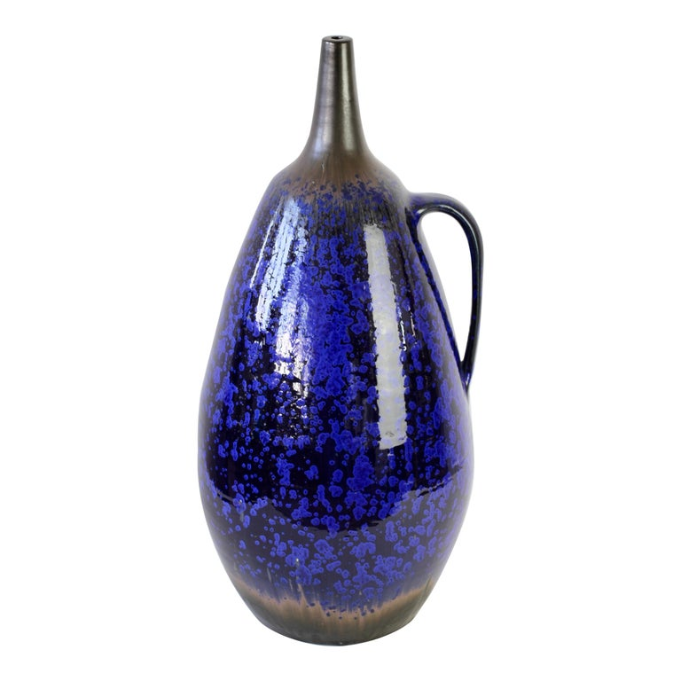 1970s Monumental Blue Glazed West German Pottery Floor Vase by Wendelin Stahl For Sale