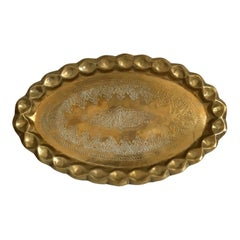 1970s Moroccan Brass Oval Tray