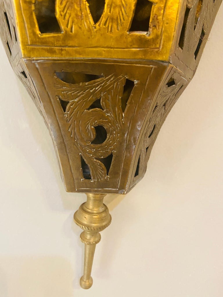 Moorish 1970s Moroccan Brass Triangle Wall Sconce, a Pair
