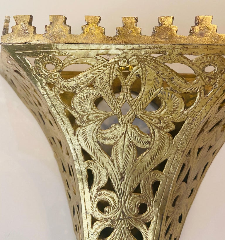 Late 20th Century 1970s Moroccan Brass Triangle Wall Sconce, a Pair