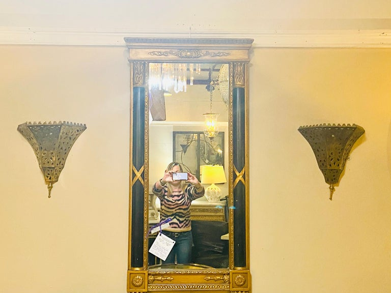 1970s Moroccan Brass Triangle Wall Sconce, a Pair 4