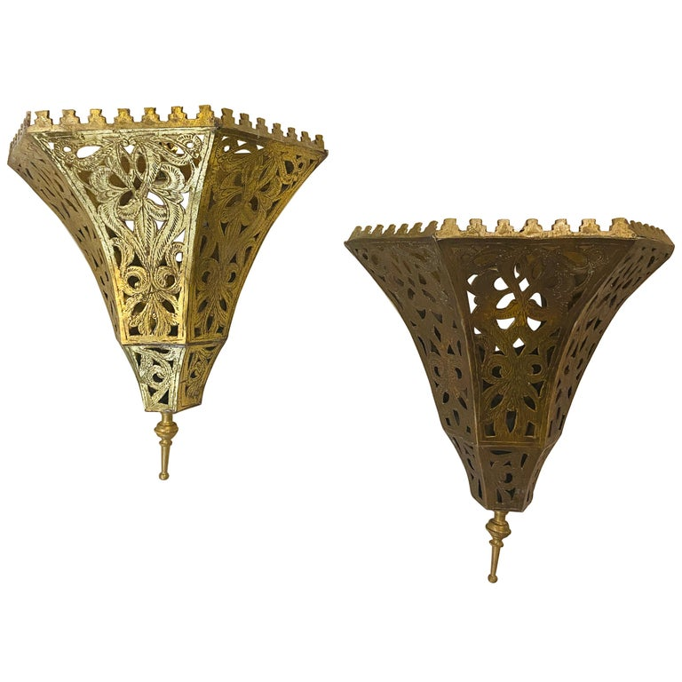 1970s Moroccan Brass Triangle Wall Sconce, a Pair