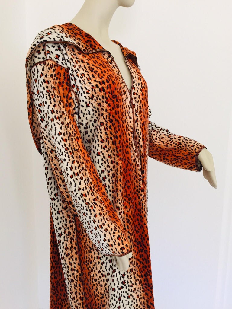 Hand-Crafted 1970s Moroccan Hooded Caftan Animal Print Djellabah Kaftan For Sale