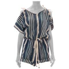 MORPHEW COLLECTION Blue & White African Cotton Striped Indigo Drawstring Romper