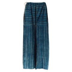 MORPHEW COLLECTION Indigo Blue Cotton Summer Palazzo Pants Made Of African Hand