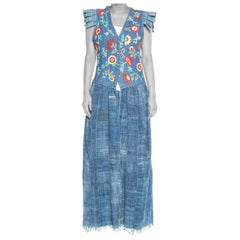 1970S Morphew Collection Denim Reworked Embroidered Floral Maxi  Vest