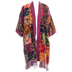 Morphew Collection Jeweltone Rayon & Silk Velvet Vintage 70S Patchwork Kimono L