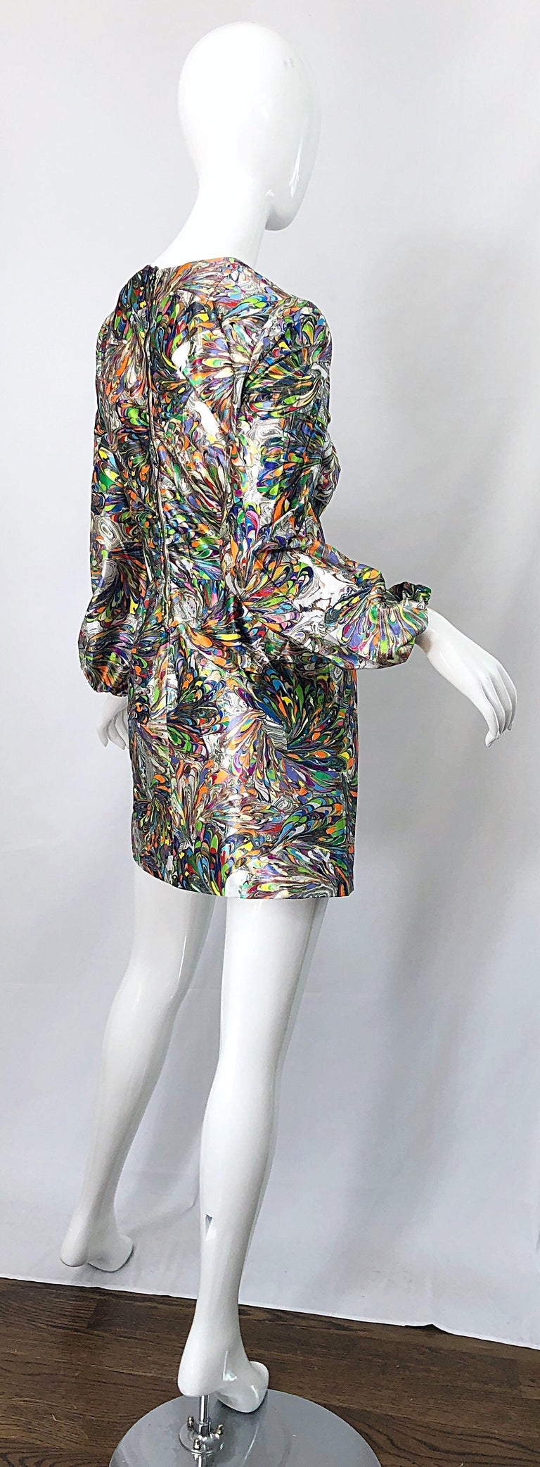 1970s Mosaic Swirl Vibrant Colored Bishop Sleeve Vintage 70s Tunic Dress For Sale 6