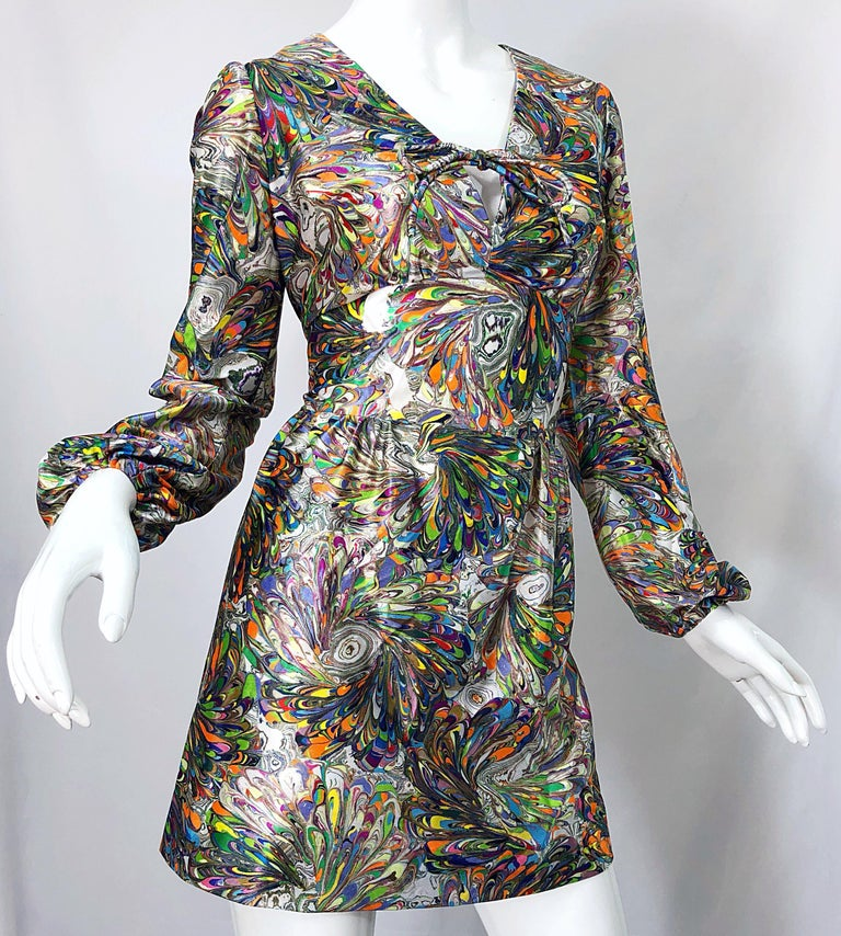 1970s Mosaic Swirl Vibrant Colored Bishop Sleeve Vintage 70s Tunic Dress For Sale 7