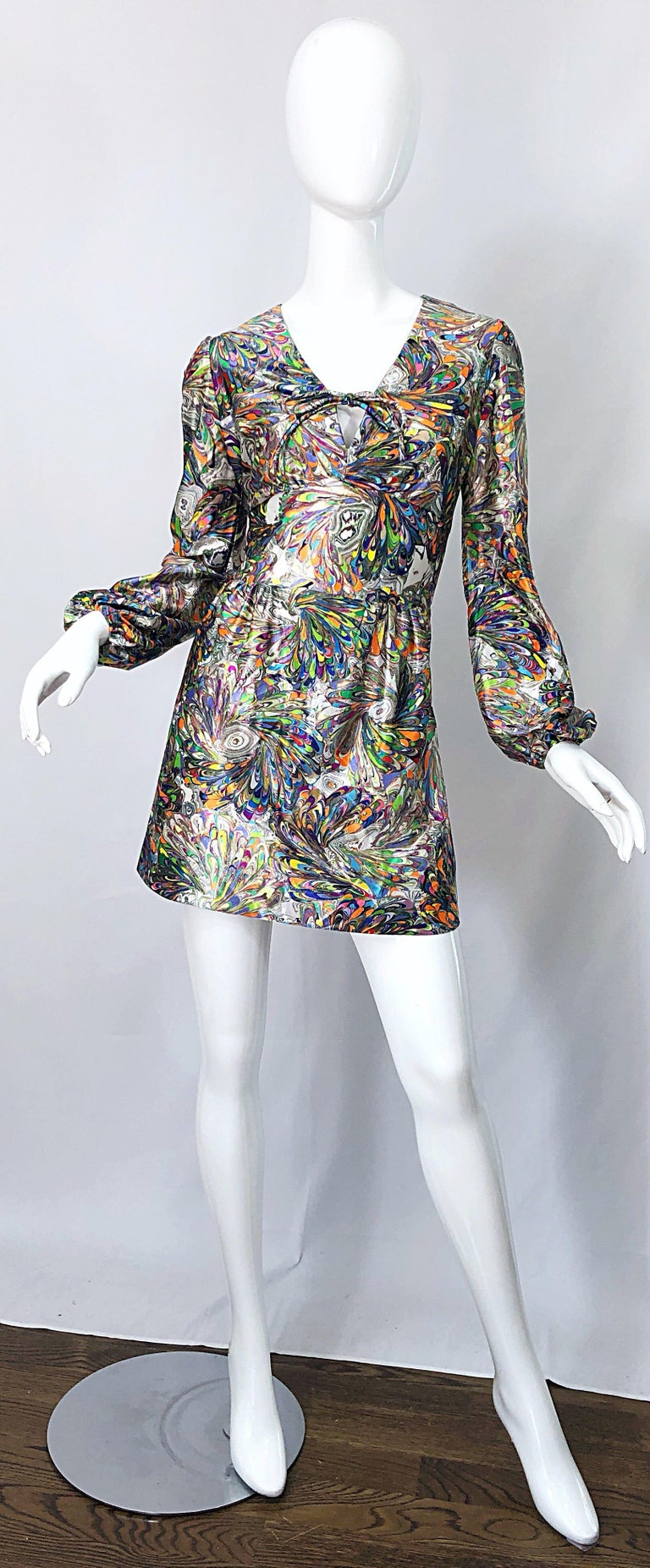 1970s Mosaic Swirl Vibrant Colored Bishop Sleeve Vintage 70s Tunic Dress For Sale 8