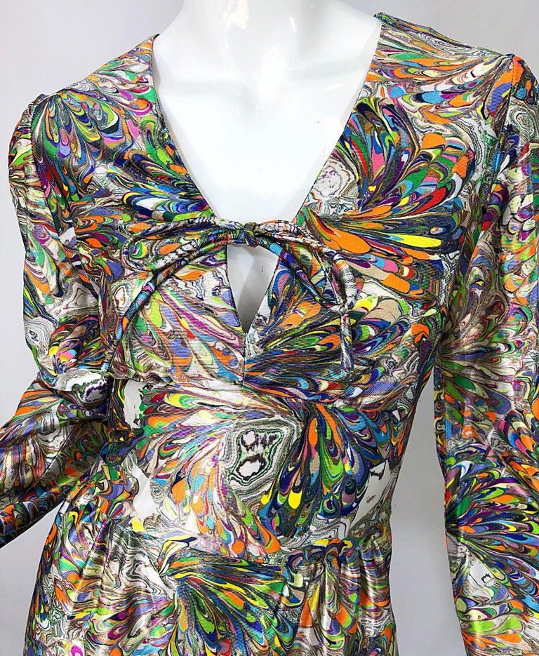 Beige 1970s Mosaic Swirl Vibrant Colored Bishop Sleeve Vintage 70s Tunic Dress For Sale