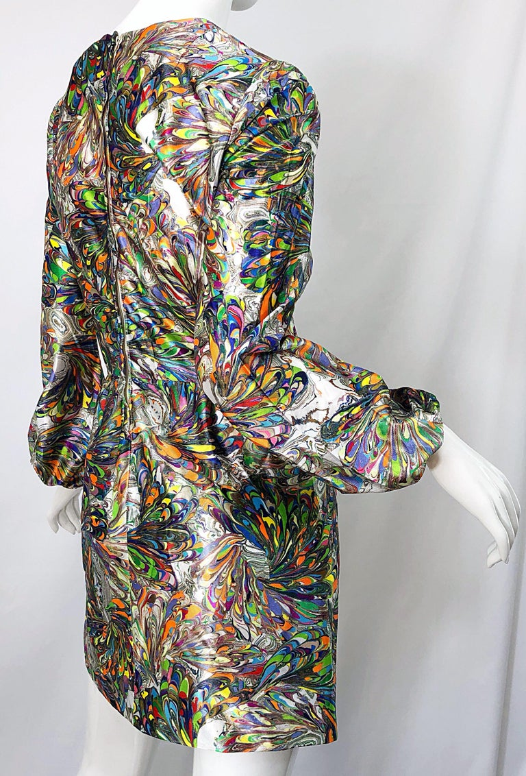 1970s Mosaic Swirl Vibrant Colored Bishop Sleeve Vintage 70s Tunic Dress For Sale 1
