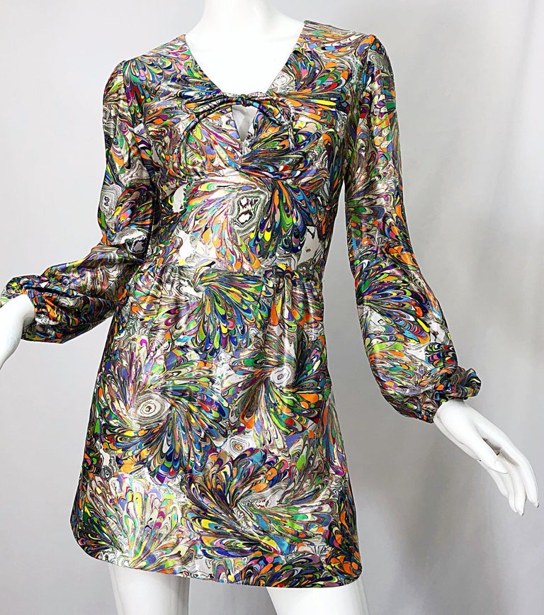 1970s Mosaic Swirl Vibrant Colored Bishop Sleeve Vintage 70s Tunic Dress For Sale 2