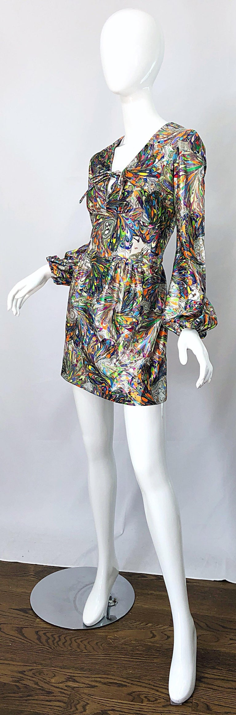 1970s Mosaic Swirl Vibrant Colored Bishop Sleeve Vintage 70s Tunic Dress For Sale 3