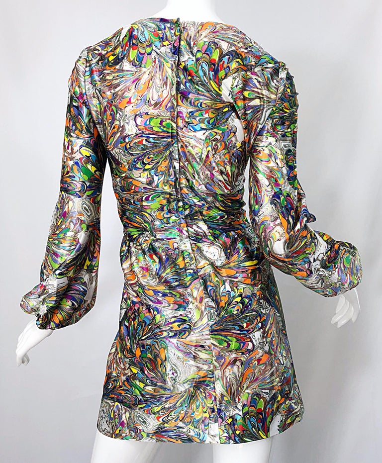 1970s Mosaic Swirl Vibrant Colored Bishop Sleeve Vintage 70s Tunic Dress For Sale 4