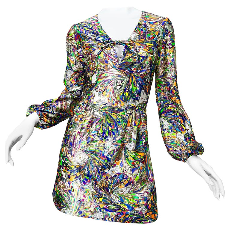 1970s Mosaic Swirl Vibrant Colored Bishop Sleeve Vintage 70s Tunic Dress For Sale