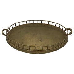 1970s Mottahedeh Brass Faux Bamboo Large Oval Tray