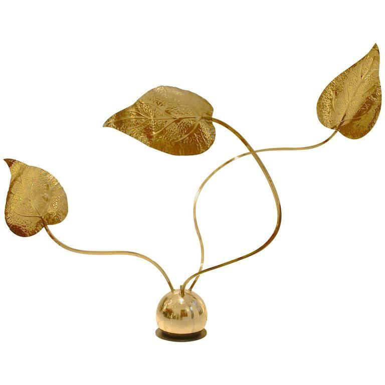 1970s Mouldable Leaf-Shaped Brass Lamp Designed by Tommaso Barbi, Italy