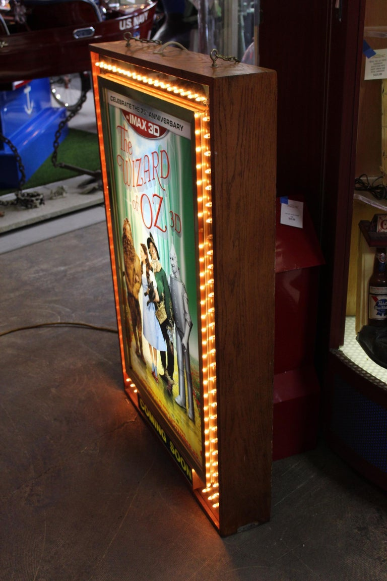 Wood 1970s Movie Theater Light Up Marquee Sign For Sale