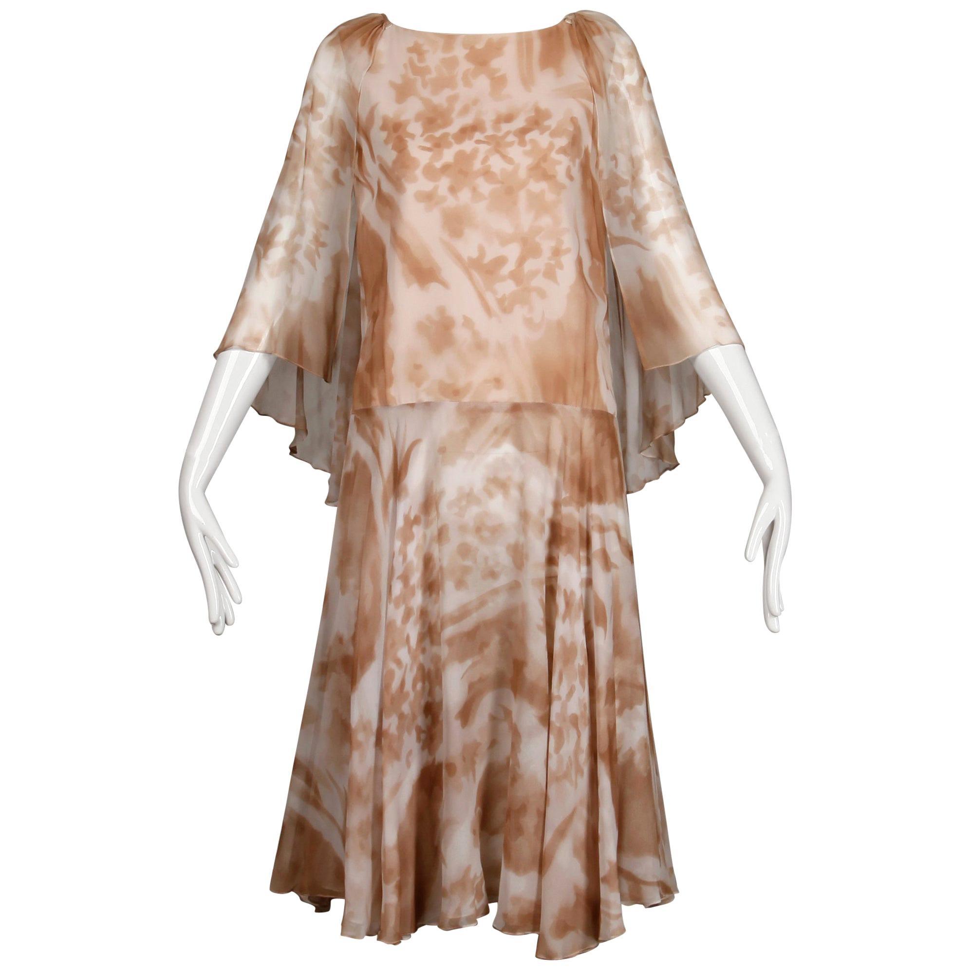 1970s Mr. Blackwell Vintage Sheer Silk Chiffon Print Dress with Detachable Cape
