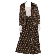 1970S MR DINO Black & Gold Polyester Jersey Geometric Print Pant Suit