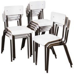 1970s Mullca White Stacking Dining Chairs, Set of Twelve