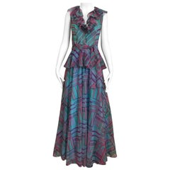 1970s Multi Color Blue, Green and Pink Ruffle Maxi Silk Dress