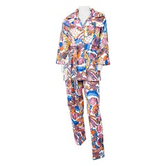 1970s Multi-Color Printed & Quilted Pant Suit Set