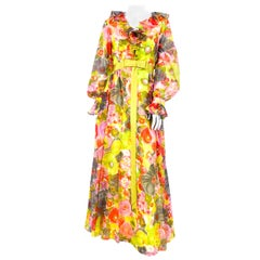 1970s Multi-colored Floral Printed Chiffon Dress