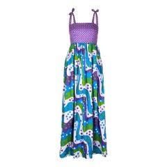 1970s Multi Coloured Polka Dot Maxi Dress