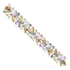 1970s Multi Gem Stone 18 Karat Gold Bracelet