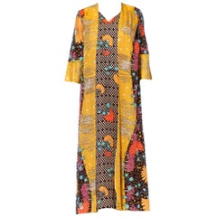 1970'S Multicolor Acetate Psychedelic Print Floral Kaftan House Dress With Atta
