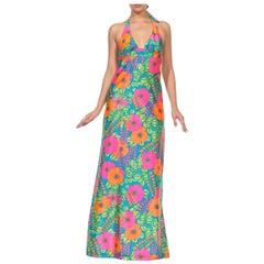 1970S Multicolor Floral Jersey Mailbu Barbie Halter Dress