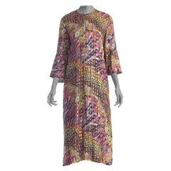 1970S Multicolor Gold Lamé Rayon Chiffon Free-Size Kaftan Dress With Pockets An