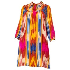 1970S Multicolor Hand Woven Silk Satin Ikat Tunic Dress