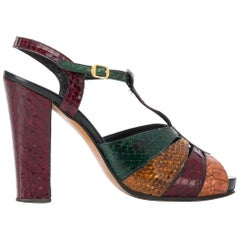 1970s Multicolor Mixed Reptile Skin High Sandals