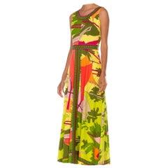 1970S Multicolor Polyester Jersey Italian Neon Print Maxi Dress