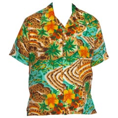 1970S Multicolor Tropical Polyester Men's Leopard Scenic Print Shirt