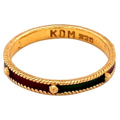 1970s Multicolored Enamel Ring in 22 Karat Gold
