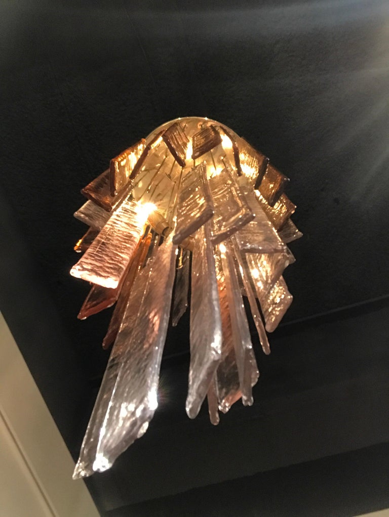 1970s Murano Frosted Glass Pendant Light For Sale 4
