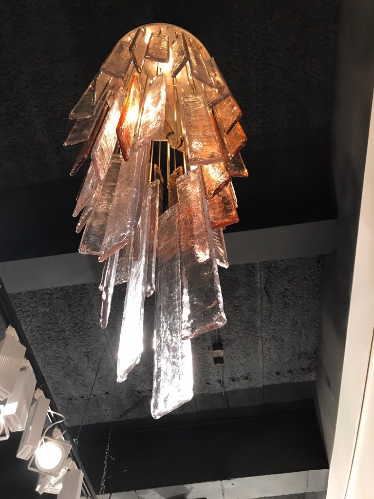 1970s Murano Frosted Glass Pendant Light For Sale 5