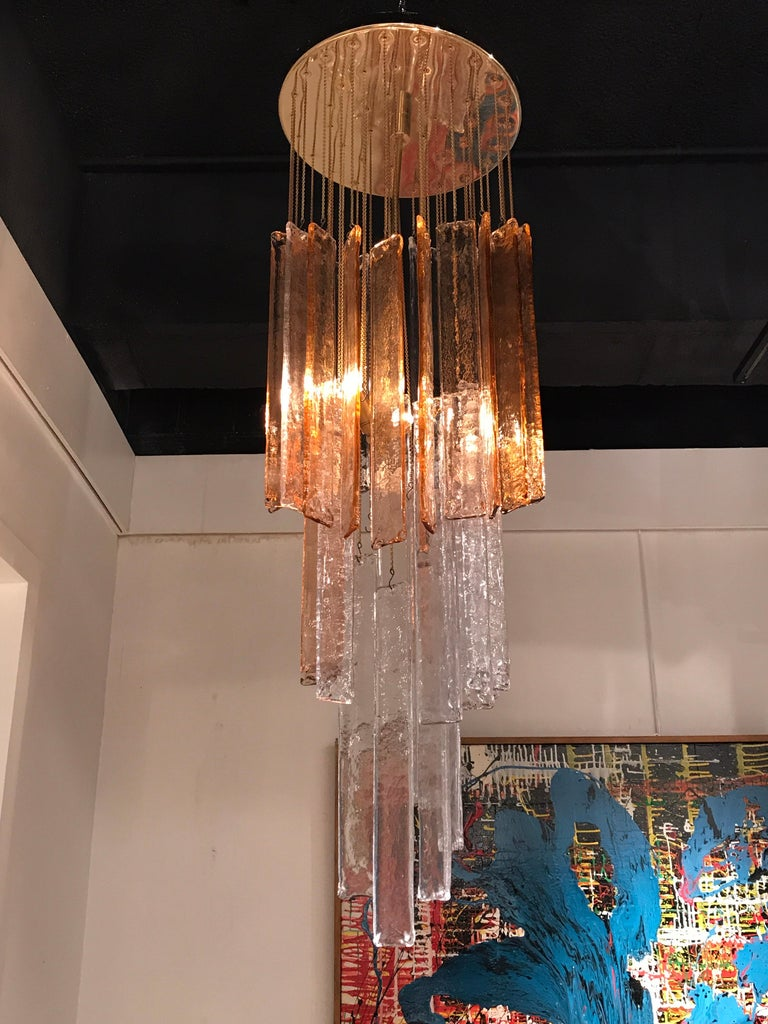 1970s Murano Frosted Glass Pendant Light with transparent and amber colors Brass base.