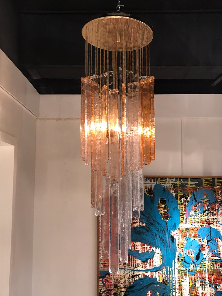 1970s Murano Frosted Glass Pendant Light For Sale 1