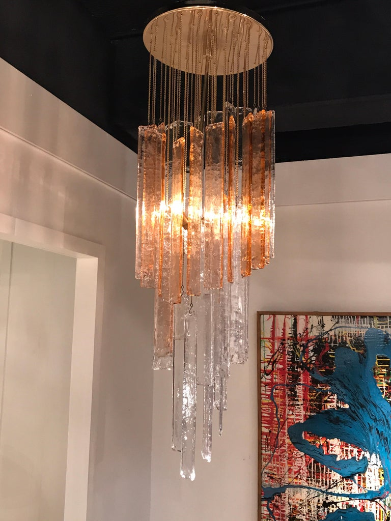 1970s Murano Frosted Glass Pendant Light For Sale 2