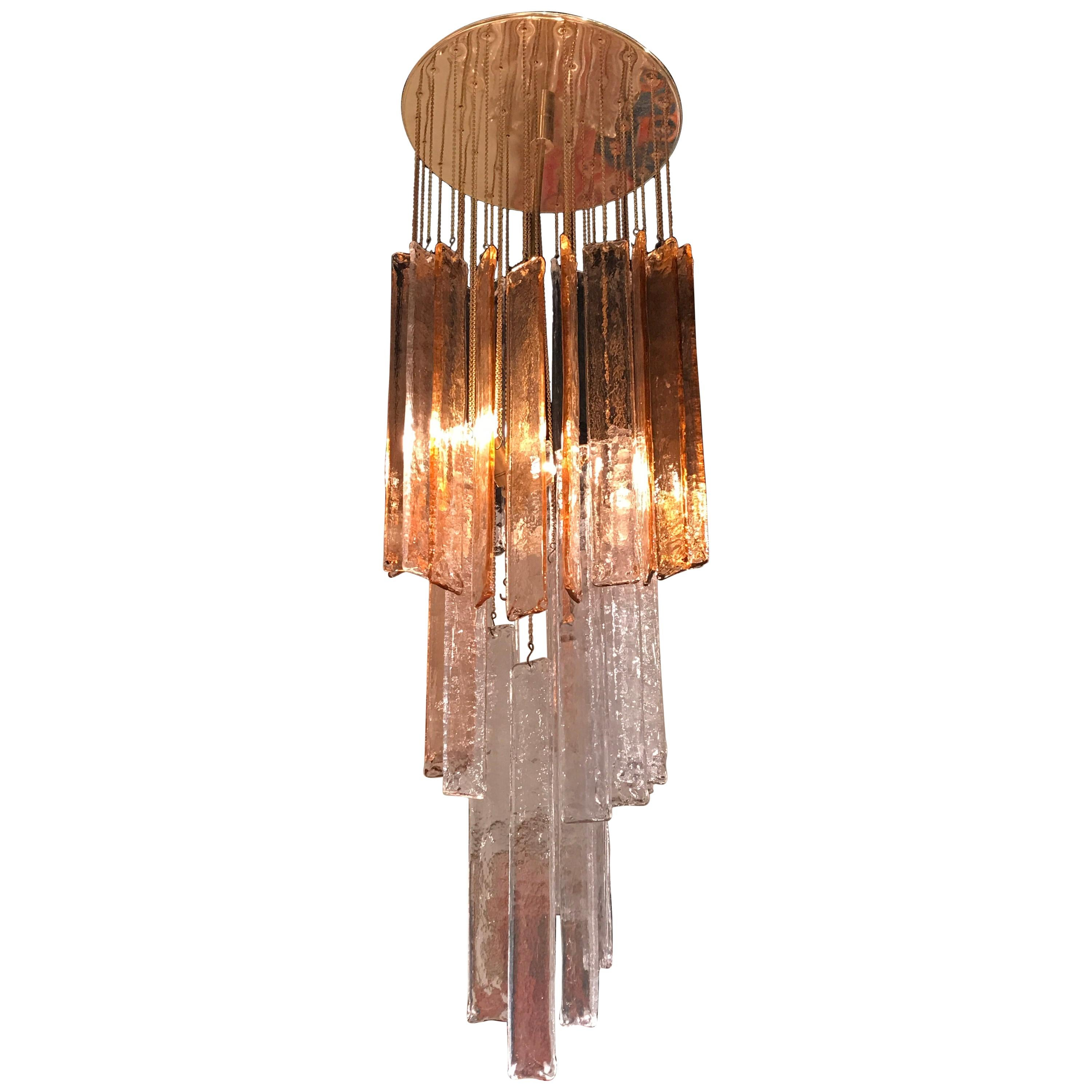 1970s Murano Frosted Glass Pendant Light