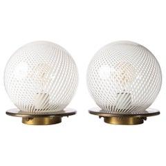 1970s Murano Glass & Brass 'Tessuto' Sphere Table Lamps Attributed to Venini