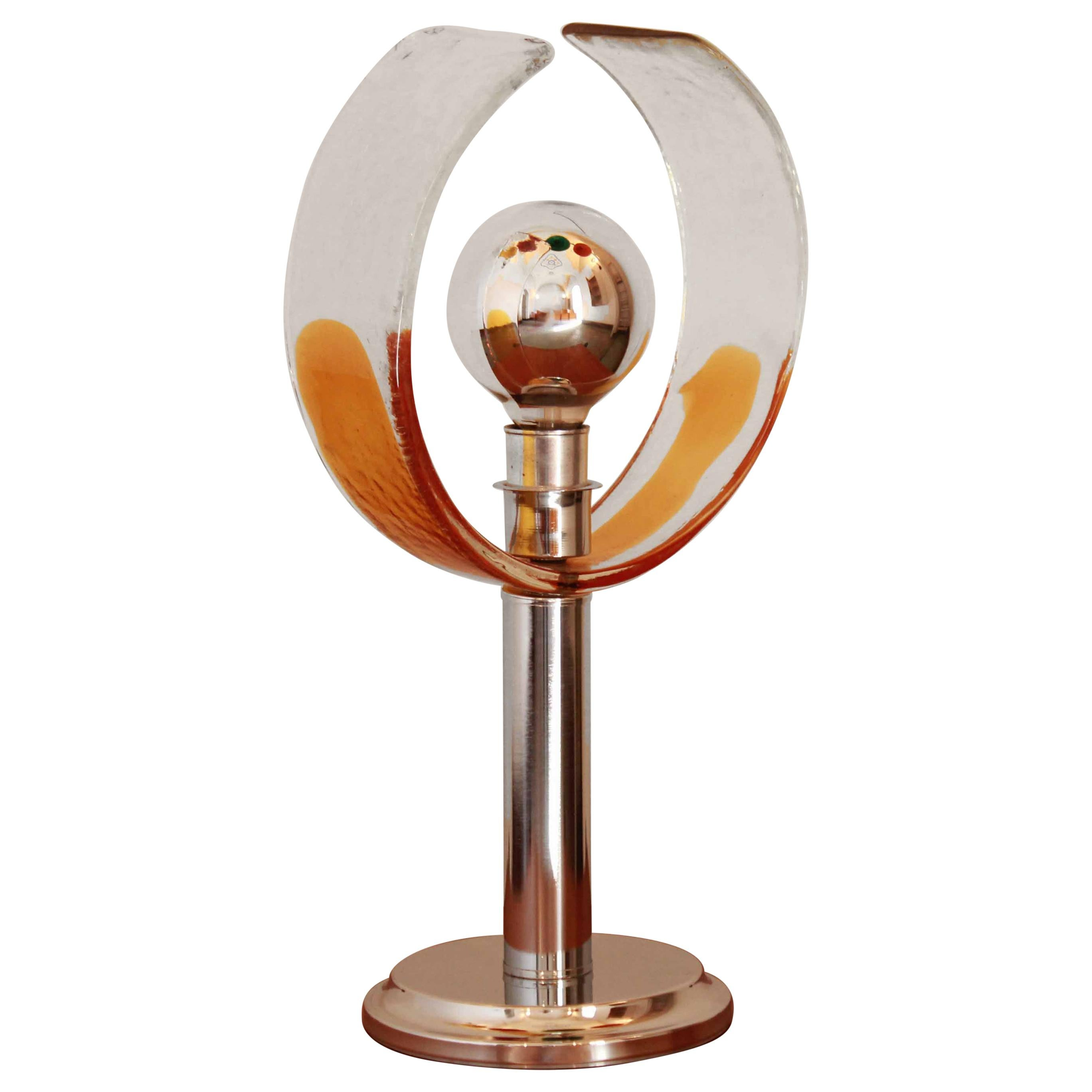 1970s Murano Glass Chrome Table Lamp by Carlo Nason for Mazzega